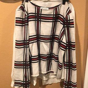 Crew neck St. John sweater plaid